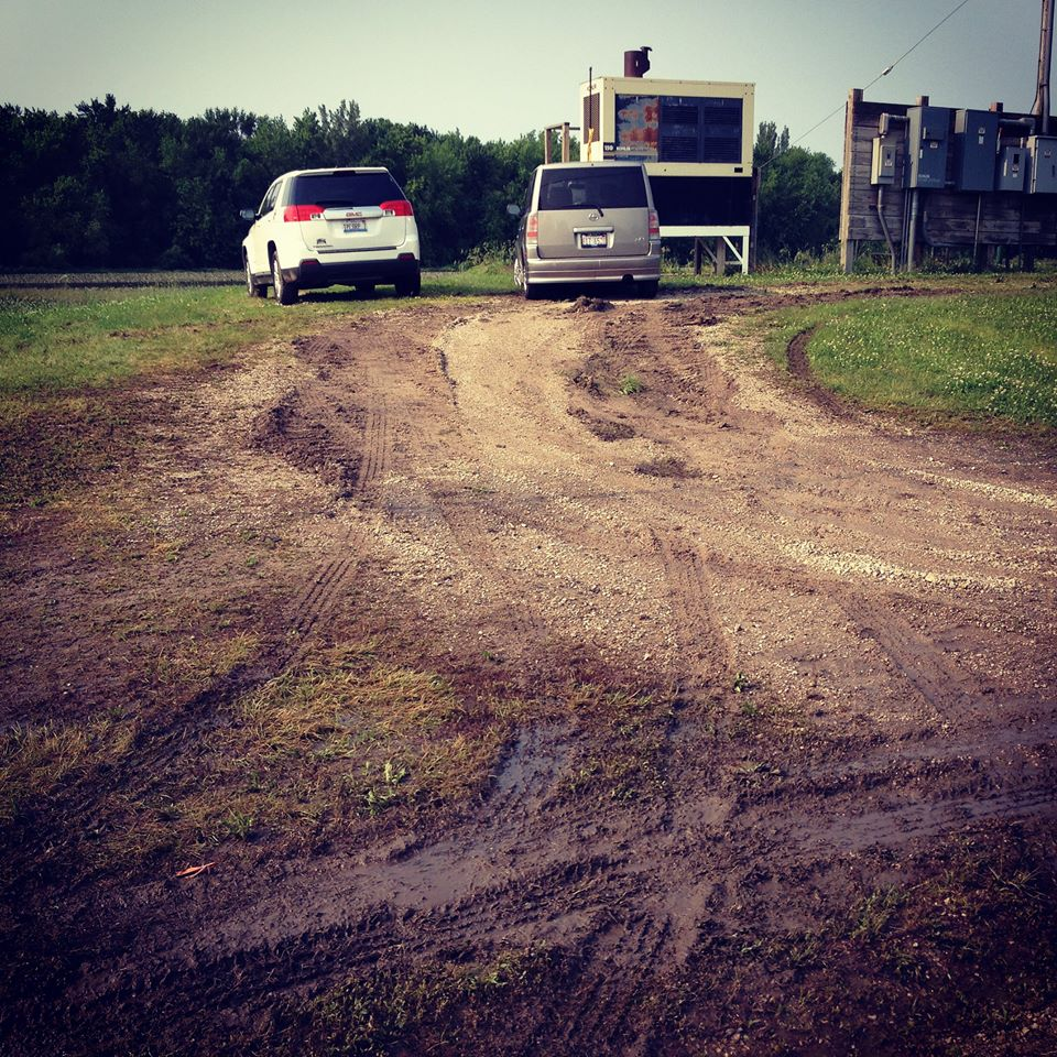 Off-road mudding action to get to the jobsite!