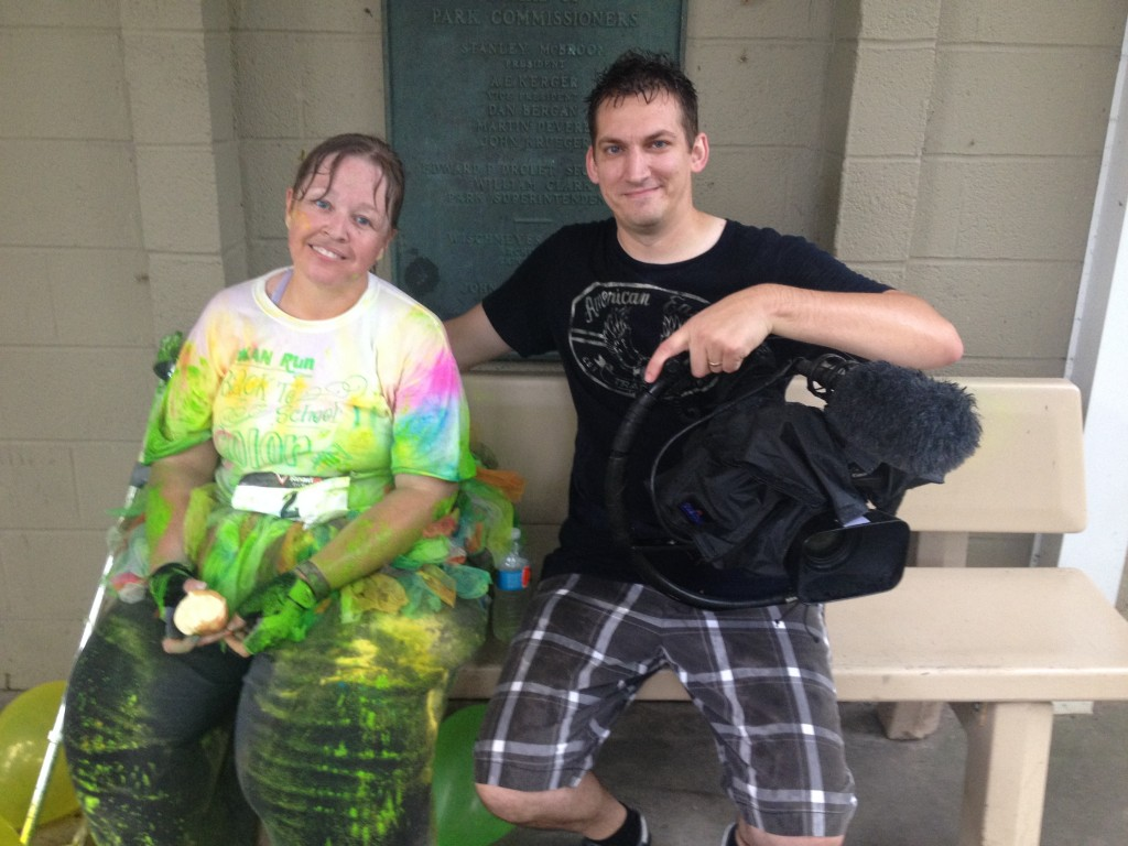 Soaked to the bone after the color run.