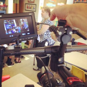 Capturing footage of Karen's preschool class.
